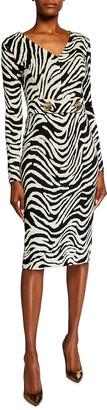 Escada Dorgia Zebra-Print Belted Dress
