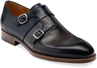 Magnanni Men's Maurici Double-Monk Leather Loafers