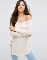 Asos Off Shoulder Slouchy Top with Side Splits