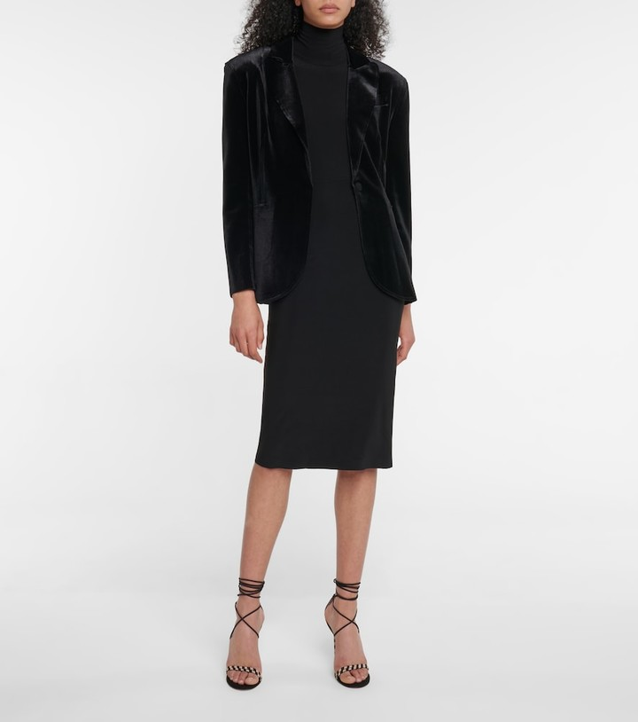 Thumbnail for your product : Norma Kamali High-rise stretch-jersey midi skirt