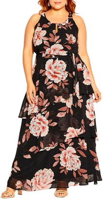 City Chic Imperial Bloom Tiered Maxi Dress