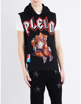Philipp Plein Tiger-embellished Sleeveless Cotton-jersey Hoody
