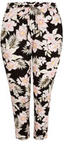Yours Clothing YoursClothing Plus Size Womens Jungle Floral Print Tapered Trousers Tie Waist