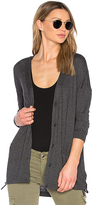 Splendid Cashmere Blend Lace Up Cardigan in Charcoal. - size L (also in M)