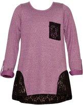 Mini Moca Big Girls Plum Black Lace Hem Pocket Detail Long Sleeve Top