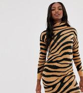Brave Soul Tall zigby animal print roll neck sweater dress