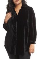 Foxcroft Plus Size Women's Ivy Broomstick Velvet Shirt