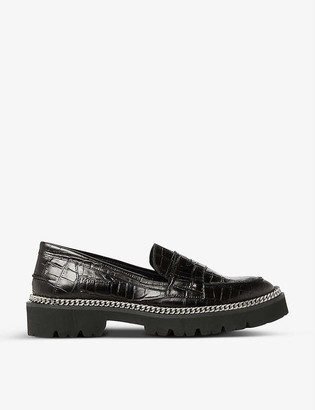 Dune Glorious crocodile-embossed leather loafers