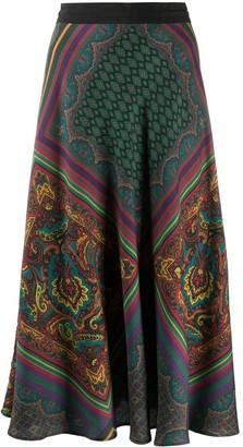 Etro scarf print A-line skirt