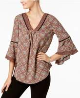 NY Collection Printed Angel-Sleeve Top