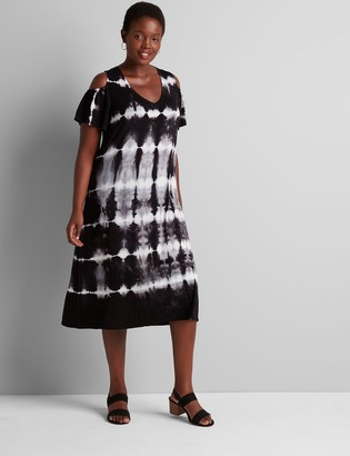 Lane Bryant Cold-Shoulder Tie-Dye Swing Dress