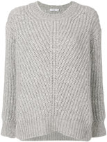 Closed rib knitted pullover