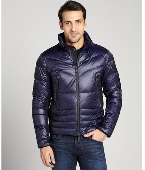 Moncler blue aperto quilted puffer jacket