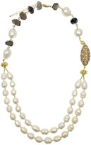 Freshwater Pearls With Smoky Quartz Double Strands Necklace