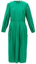 Lemaire Pleated Silk-georgette Midi Dress - Womens - Green