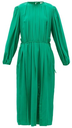 Lemaire Pleated Silk-georgette Midi Dress - Green
