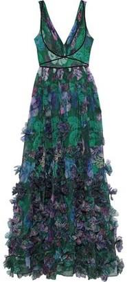 Marchesa Velvet-trimmed Appliqued Floral-print Organza Gown