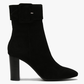 Lola Cruz Joinvile Black Suede Large Buckle Ankle Boots