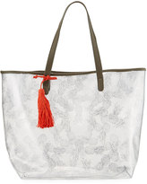Neiman Marcus Clear Pineapple Print Tote Bag, Silver
