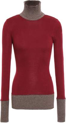 Victoria Beckham Two-tone Wool-blend Turtleneck Sweater