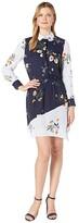 Vince Camuto Long Sleeve Surreal Garden Asymmetrical Hem Shirtdress (Caviar) Women's Dress