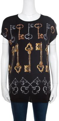 Dolce & Gabbana Black Key Printed Silk Cap Sleeve Blouse M
