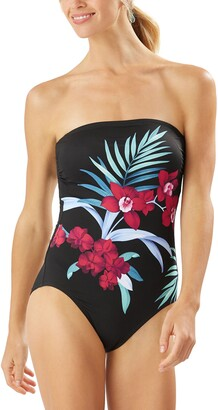 Tommy Bahama Midnight Orchid Strapless One-Piece Swimsuit