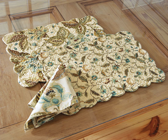 Napa Style Flower Market Quilted Linens- Blue