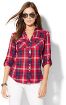 New York & Co. Soho Soft Shirt - Plaid Print - Red