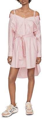 Maje Riami Striped Cold-Shoulder Shirt Dress
