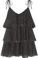 Lisa Marie Fernandez Imaan Tiered Polka-dot Cotton-voile Mini Dress - Black
