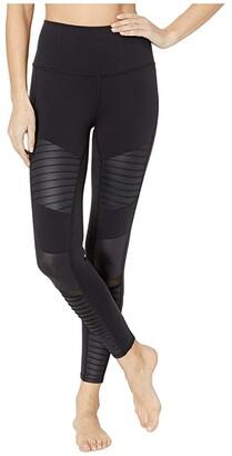 Alo 7/8 High-Waist Moto Leggings (Black) Women's Casual Pants