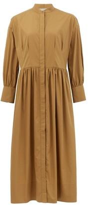 Three Graces London Peppa Gathered Cotton-poplin Shirt Dress - Brown