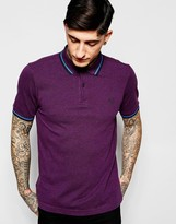 Fred Perry Polo Shirt with Tipping Slim Fit In Purple