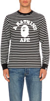 A Bathing Ape College Striped Cotton-jersey Top