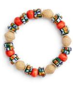Akola Raffia, Bone & Glass Stretch Bracelet