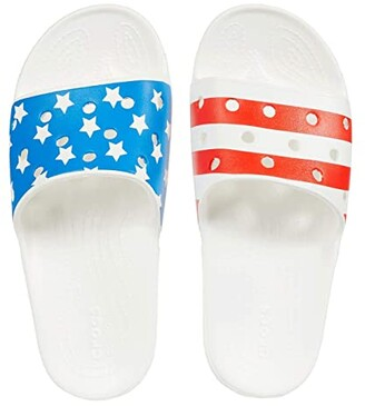 Crocs Classic American Flag Slide (White/Multi) Shoes
