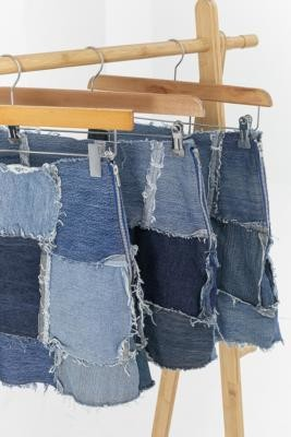 Urban Renewal Vintage Remade From Vintage Patchwork Denim Mini Skirt - Blue XS at Urban Outfitters