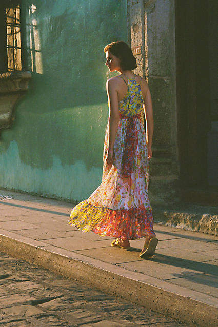 Anthropologie Malibu Floral Maxi Dress