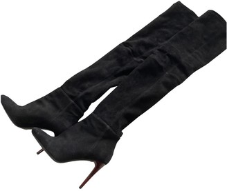 Balmain For H&m Black Suede Boots