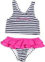 Princess Linens Navy Stripe Personalized Tankini Top & Bottoms - Toddler & Girls