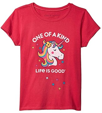 Life is Good One of a Kind Unicorn Crusher Tee (Little Kids/Big Kids) (Sangria Red) Girl's Clothing
