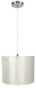 Winston Porter Imelde 1 - Light Single Drum Pendant Shade Color: Off White, Size: 11'' H x 14'' W x 14'' D