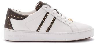 Michael Kors Keaton Sneaker In White Leather And Branded Details
