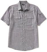 Murano Short-Sleeve Point Collar Solid Snap Sportshirt