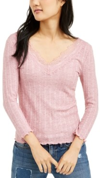 Almost Famous Juniors' Lace-Trimmed Rib-Knit Top