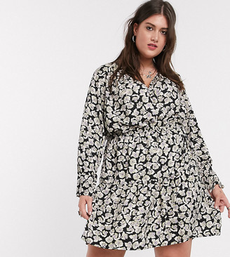 Only Curve mini wrap dress in black floral