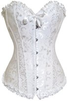 Muka Women Plus Size Corset Lace Up Overbust Bridal Bustier with Panties-S