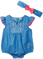 Juicy Couture Chambray Sunsuit & Headband Set (Baby Girls 0-9M)