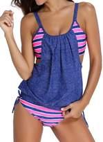 Pandolah Womens Stripes Lined Up Double Up Tankini Top Bikini Swimwear (2XL, )
